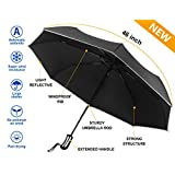Auto Open Close Umbrella, MCIRCO Travel Umbrella Windproof Compact Automatic Umbrella Unbreakable Lightweight Foldable Black Rain Umbrella with Slip-Proof Handle and Safe Reflective Strip