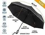 Cheap Mcirco Auto Open Close Umbrella, Travel Umbrella Windproof Compact Automatic Umbrella Unbreakable Lightweight Foldable Black Rain Umbrella with Slip-Proof Handle and Safe Reflective Stripe