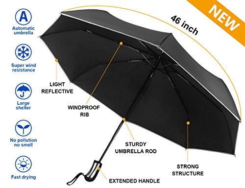 Cheap Mcirco Auto Open Close Umbrella, Travel Umbrella Windproof Compact Automatic Umbrella Unbreakable Lightweight Foldable Black Rain Umbrella with Slip-Proof Handle and Safe Reflective Stripe