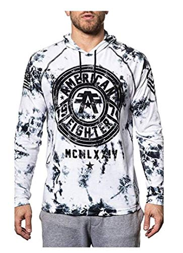 American Fighter Allport Long Sleeve Athletic Graphic Fashion Sport Raglan Hood T-shirt Top by Affliction