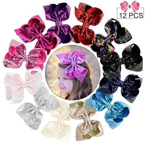 8 Large Sequins Hair Bows 12PCS Glitter Sparkly Boutique Alligator Clips for Girls Toddlers Teens Women