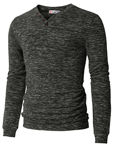 H2H Mens Fashion V-Neck Lightweight Long Sleeve Pullover Marble Color Sweater T-Shirts Charcoal US M/Asia L (CMOSWL019)