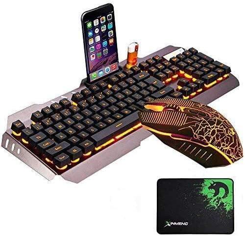 UrChoiceLtd cable de ratón y teclado (retroiluminación LED USB Gaming Teclado con un soporte de teléfono y soporte de mechero + 3200DPI 6 Botones ...