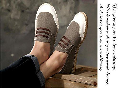 Uomini Cinese Basse Scarpe di Gli per Espadrillas Uomo 39 Tela Lino Flats Loafer Sole Stile Casuale 6gXdqH