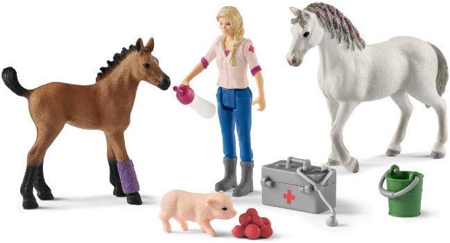 Schleich- Colección Farm World Set Visita Médica para Yegua y Potro, 19 cm (42486)