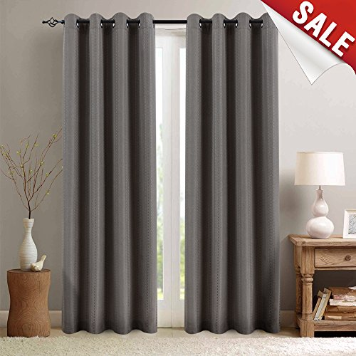 Room Darkening Striped Curtains for Bedroom Linen Textured Jacquard Window Curtain Panels with Dotted Lines for Living Room 95 inches Long Drapes 2 Panels, Brown (Sunroom Curtains)