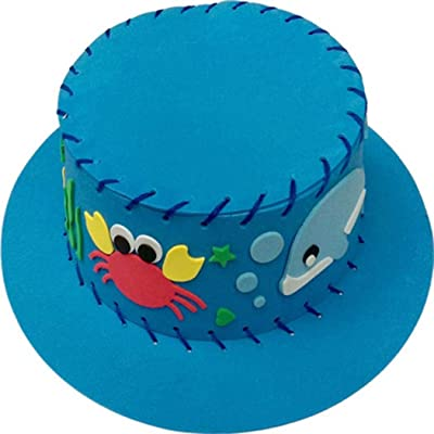 DIY Creative EVA Hat Children Handwork 3D Adhesive Hat Blue: Clothing