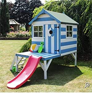 Wooden playhouse with slide 4 x 4ft this outdoor children Outdoor playhouse for sale used