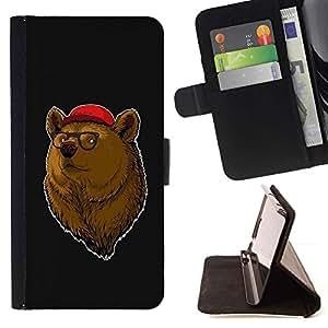 For HTC One M8 Case , Enfriar Hipster Oso- la tarjeta de Crédito Slots PU Funda de cuero Monedero caso cubierta de piel