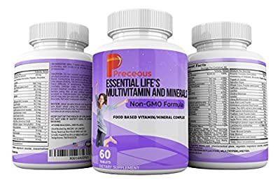 Life's Vitality Essential Vitamins And Mineral Supplements With 42 Fruit And Vegetable With Vitamins A B C D E K Folic Acid Biotin Calcium Chromium Iodine Zinc Potassium Copper Selenium Magnesium