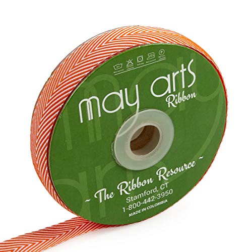 May Arts 3/4'' Twill Chevron Stripes Ribbon (30 yard Spool) Orange/Ivory