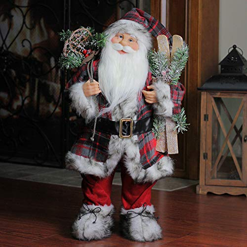 Northlight Alpine Chic Standing Santa Claus with Frosted Pine Snowshoes and Skis Christmas Figure, 24
