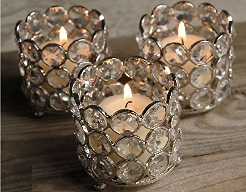 Crystal Tealight & Votive Candle Holders Wedding Table Centerpieces Set Of 4