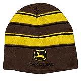 John Deere Men's Stripe Beanie, Brown, One Size