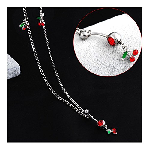 Oasis Plus 14G Cute Red Crystal Cherry Belly Button Ring Dance Waist Chain Belt Body Piercing (Cute Red Crystal)