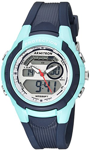 Armitron Sport Unisex 25/6429NVY Teal Accented Analog-Digital Chronograph Navy Blue Resin Strap Watch