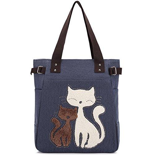 Women Canvas Handbag Kaukko Shoulder Bag Cat Big Tote Bag Blue by KAUKKO
