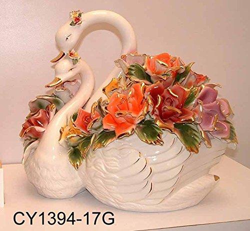Capodimonte Style Ceramic Double Swan Flower Basket Centerpiece