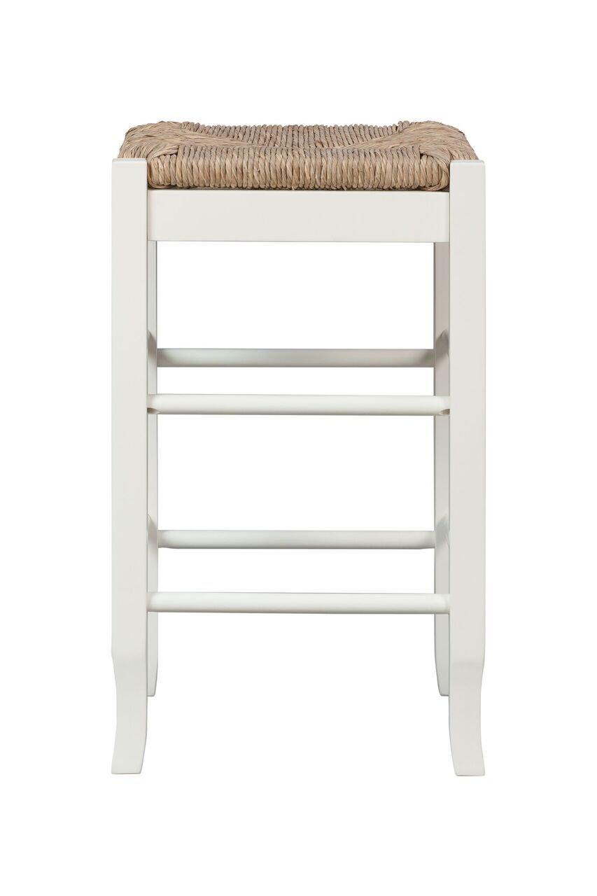 Boraam 94324 Square Rush Seat Counter Height Stool, 24-Inch, White by Boraam