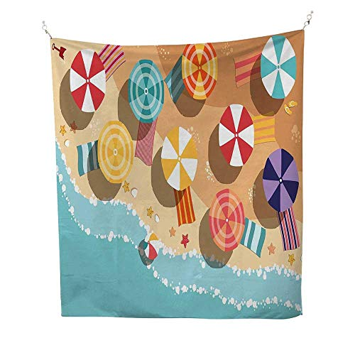 Aerial Rods Star - BeachtapestrySummertime Seacoast with Colorful Umbrellas Stars Flat Design Aerial View Vacation 40W x 60L inch Wall tapestryMulticolor