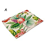 RXIN Nordic Style Home Decoration Cartoon Animal Flamingo Print Table Napkins for Wedding Party Bowl Dining Mats Kids Table Set Plate