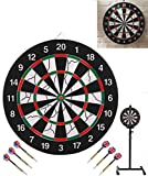 SPRAWL Steel Tip Dartboard 18'' with Stand,Six Brass Darts, a Funny Backyard Game