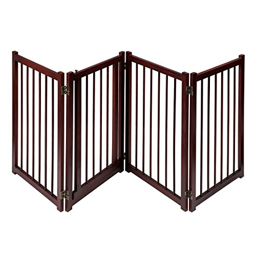 GOOD LIFE 81 Inch Wooden Pet Gate with Walk Through Door Adjustable Freestanding Fence Folding Dog Gate 4 Panel Coffee Color PET343