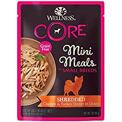 Wellness Core Natural Grain Free Small Breed Mini Meals Wet Dog Food, Shredded Chicken & Turkey Dinner In Gravy, 3-Ounce Pouch (Pack Of 12)