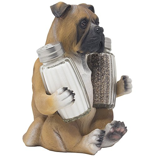 Boxer Puppy Dog Glass Salt and Pepper Shaker Set with Decorative Display Stand Holder Figurine for Country Cottage Kitchen Décor Spice Racks or Table Centerpieces As Canine Gifts for Pet Lovers