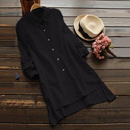 Plus Femme Longues Bringbring Taille Casual Noir Poche Longues Grand Chemisier Bouton Size Robe Lache de Manches Hauts wRxA1EfHq5