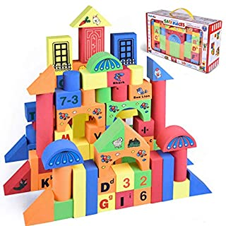 FUN LITTLE TOYS 108 PCs Foam Building Blocks for Kids, EVA Foam Blocks with Alphabet and Number, Creative Educational Stacking Blocks, Non Toxic