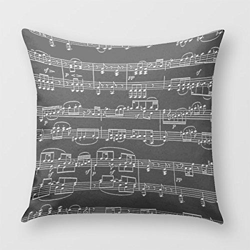 Linkla Danniol Black Decor-Item Music-Themed Pillow Cover for Sofa or...