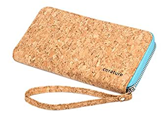 Womens Clutch Wallet Evening bag. Sustainable Cork Fabric Vegan Leather Handbag (Baby Blue)