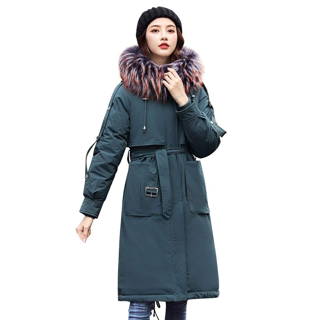 Fashionhe Long Overcoat Warm Outerwear Long Sleeve Hooded Jackets Cotton-Padded Pockets Bandage Coats(Army Green.XL) by Fashionhe