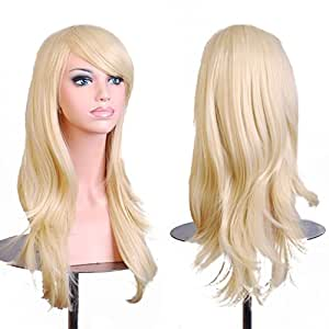 """28 """"Women's Hair Wig New Fashion Long Big Wavy Hair Heat Resistant Wig for Cosplay Party Costume (Light Blonde)"""