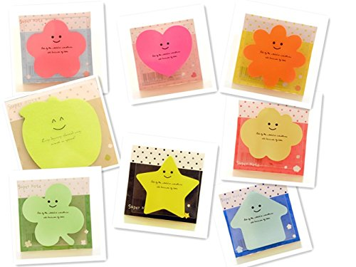 (Super Sticky Notes,Pack of 8 Pads,8 Colors,8 Shapes,30 Sheets/Pad)