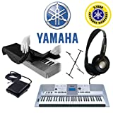 : Yamaha PSR-E413 61-Key Digital Keyboard, Koss Stereo Dynamic Headphones, Yamaha Foot Pedal for PSRE213 PSRE313 PSRE413 EZ200, 61-76-key Electronic Keyboard Dust Cover, Single-X X-Style Keyboard Stand