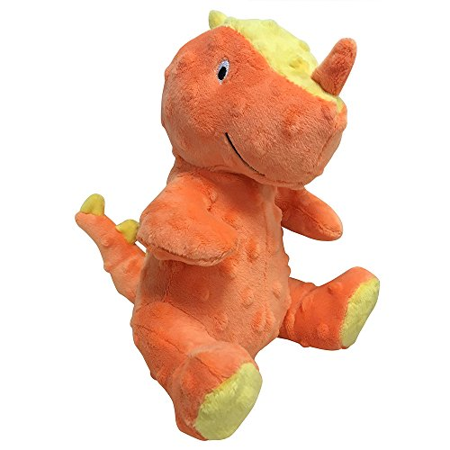 FOUFIT 85605 Dino Plush Toy for Dogs, Small, Orange, 6″