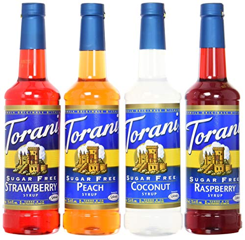 Torani Sugar Free Syrup Soda Flavors Variety Pack, 25.4 Ounces (Set of 4) (Syrup Strawberry Drink)