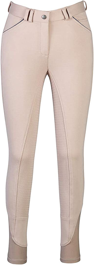 Amazon Com Hr Farm Ladies Middle Rise Full Seat Silicone Knit Breeches Women Riding Pants Clothing