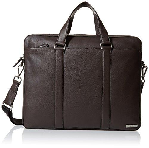 Calvin Klein Men's Bombe Leather Attache, Dark Chocolate Brown by Calvin Klein