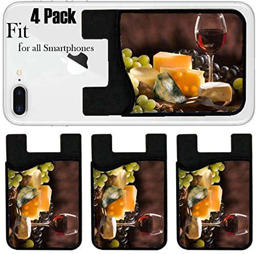Liili Phone Card holder sleeve/wallet for iPhone Samsung Android and all smartphones with removable microfiber screen cleaner Silicone card Caddy(4 Pack) IMAGE ID: 5817463 Glass of red wine with - Glasses Vari