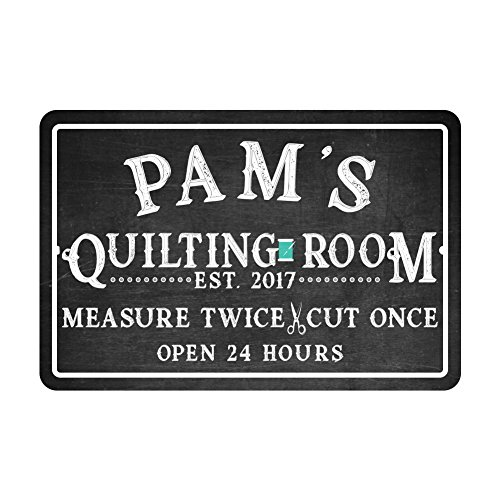 Personalized Quilting Room Chalkboard Look Metal Room Sign