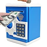 CBTONE Cartoon Electronic Piggy Bank Cash Coin Can Electronic Money Bank Mini ATM Money Saver Coin Bank Password Box Saving Banks, Great Gift Toy for Kids Children - Blue