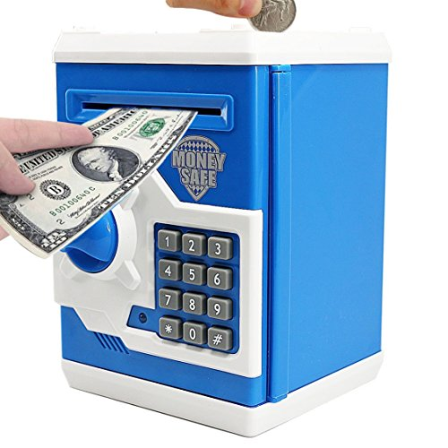 CBTONE Cartoon Electronic Piggy Bank Cash Coin Can Electronic Money Bank Mini ATM Money Saver Coin Bank Password Box Saving Banks, Great Gift Toy for Kids Children - Blue by CBTONE