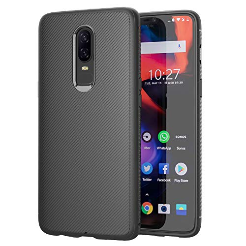 MoKo OnePlus 6 Case, Lightweight Shockproof Protective Phone Cover, TPU Bumper Edge Twill Phone Case for OnePlus 6, Black