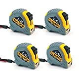 ALALIMINI Tape Measure 10Foot/3M Metric&inch Scale 4-Pack Long Durable Retractable Mini Ruler,Belt Clip Holder,Magnetic Hook,Hand Tool for Measurement (4)
