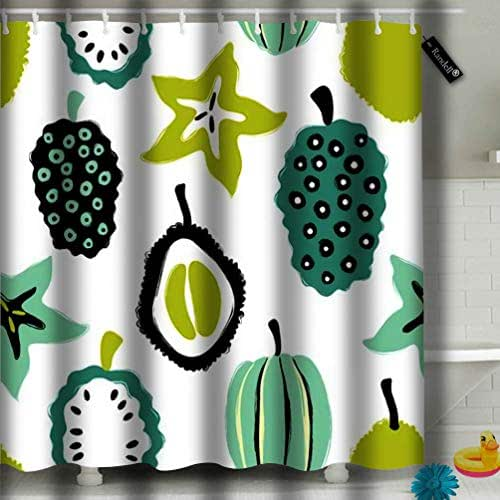 Axtuxdell Decoration Bathroom Shower Curtain Abstract Colorful Fruits Durian Carambola and Noni Brush Grunge Exotic Waterproof with 12 Hooks 72