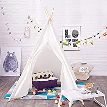 Loisleila Children Teepee Play Tent Kids Playhouse for Indoor Outdoor Camping Indian Tent Xmas Gift(White)