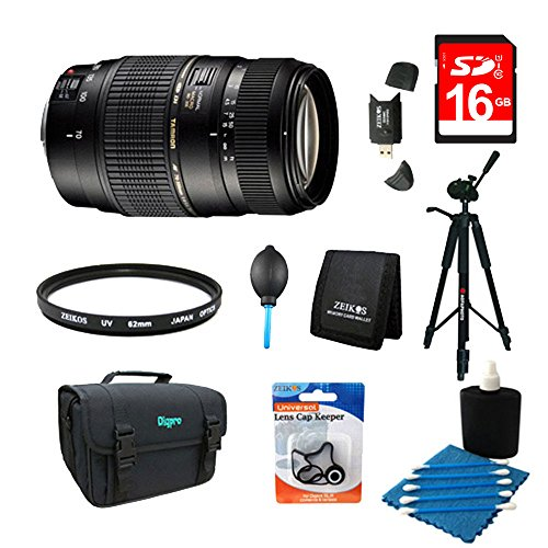 Tamron 70-300mm f/4-5.6 DI LD Macro Lens Pro Kit for Nikon AF with Built-in Motor Includes Bonus Xit 60'' Full Size Photo / Video Tripod, and More by Beach Camera